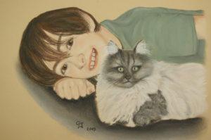 portrait garçon et son chat